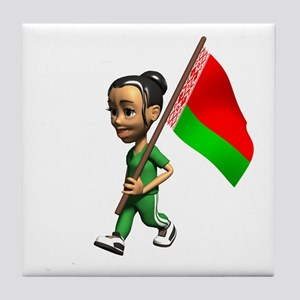 Belarus Girl Tile Coaster